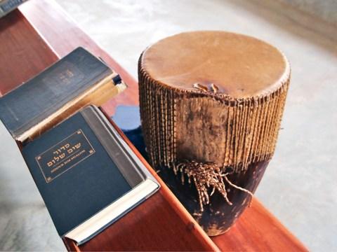 A siddur and drum in an Abayudaya synagogue (Photo/Fred Greene)