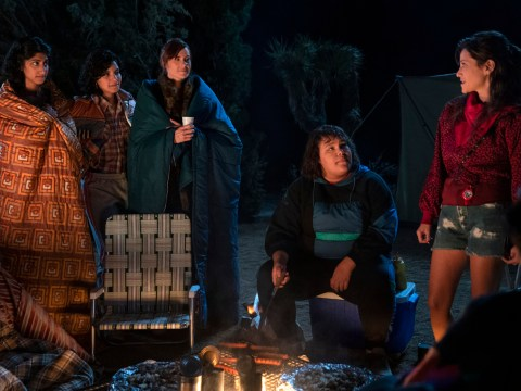 "Melrose (Jackie Tohn, far right) suggests holding a seder around the campfire in Season 3 of ""GLOW."" (Photo/Courtesy Netflix-Ali Goldstein)"