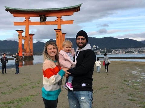 Kevin Pillar with wife Amanda and daughter Kobie during a trip to Japan in 2018 (Photo/Amanda Pillar)