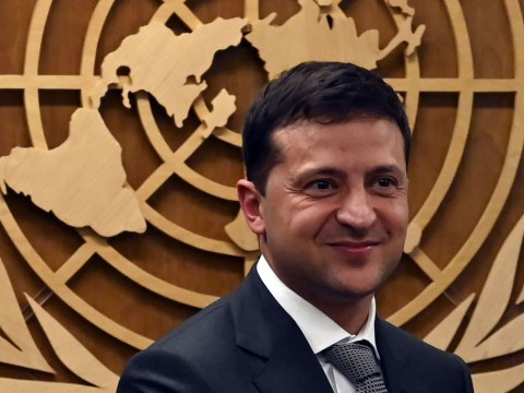 Ukraine President Volodymyr Zelensky smiles after meeting U.N. Secretary-General Antonio Guterres at the General Assembly in New York, Sept. 26, 2019. (Photo/JTA-Timothy A. Clary-AFP-Getty Images)