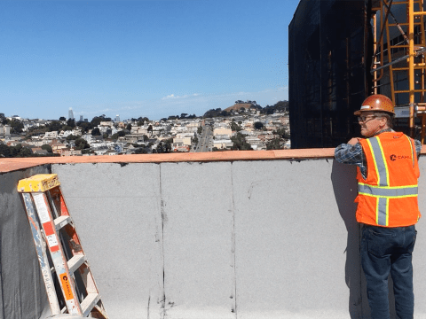 Look north into San Francisco from the roof of the Campus from Jewish Living's construction site (Photo/Gabe Stutman)