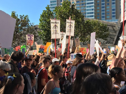 Climate activists across the country, including these marching down Market Street in San Francisco, marched on Sept. 20 protesting the use of fossil fuels. (Photo/Gabe Stutman)