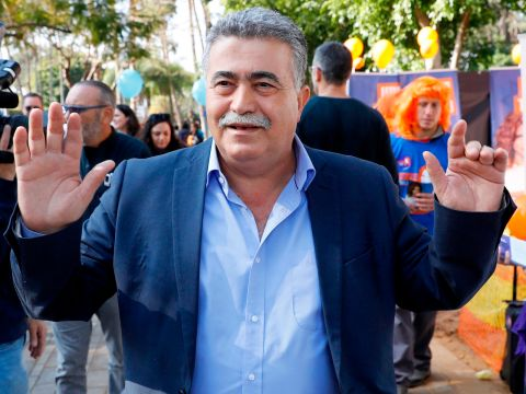 Amir Peretz, a former defense minister, poses during the Labor Party primaries in Tel Aviv, Feb. 11, 2019. (Photo/JTA-Jack Guez-Getty Images)