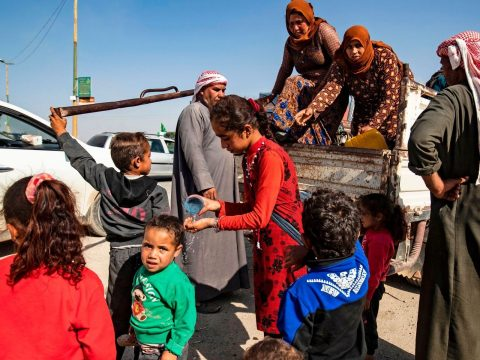 Syrian Arab and Kurdish civilians arrive in northwestern Syria's Hasakeh province after fleeing the Turkish bombing on towns along the Turkey border, Oct. 10, 2019. (Photo/JTA-Delil Souleiman-AFP via Getty Images)
