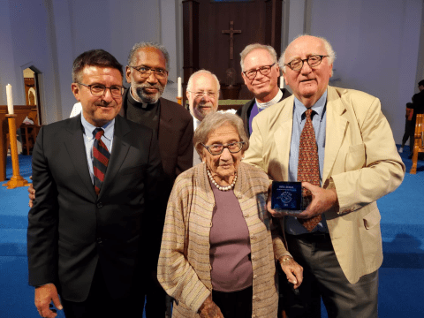 (clockwise from left) Michael G. Pappas, Rev. Ken Westray, Rabbi Allen Bennett, Bishop Marc Andrus, Steven Geiger and Rita Semel at the Mensch Award event