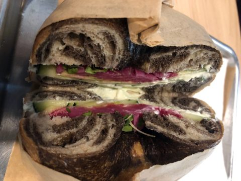 Marble rye bagel with a shmear, tomatoes and cucumbers at the Bagel Mill. /Alix Wall
