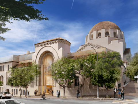 "This rendering of the planned remodeling of Congregation Emanu-El in San Francisco shows the restored and updated main entrance (center) and additional classrooms on top of the ""Temple House"" wing (left) /Rendering courtesy of Mark Cavagnero Associates"