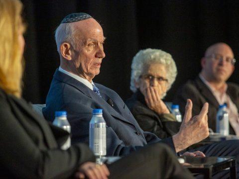 (From left) Rabbi Yitz Greenberg, Professor Ruth Gavison and Yehuda Kurtzer discuss the Israel-diaspora relationship at Z3. (Courtesy Z3)