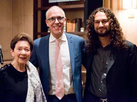 "Adam Swig, grandmother Roselyne ""Cissie"" Swig and Birthright Israel regional director PJ Cherrin at fundraiser in 2016. (Georg Lester)"