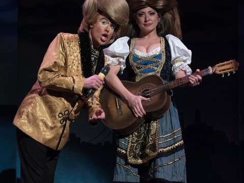 Big-haired parodies Donald and Melania Trump in this year's Beach Blanket Babylon. (Rick Markovich)