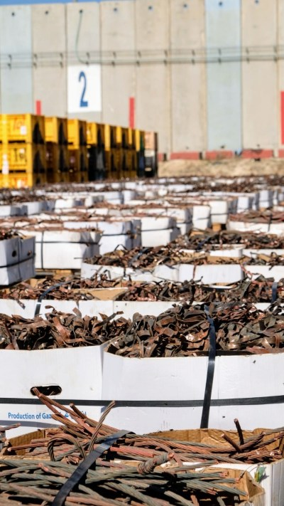 Scrap metal from the Kerem Shalom border crossing with Gaza. The metal is being imported into Israel for sale. (Northern California Board of Rabbis)