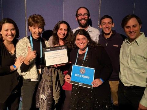 Hillel at Stanford staff with the Israel Education and Engagement Excellence Award.