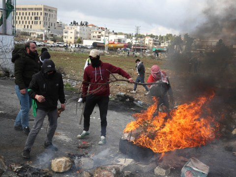 Palestinian protesters clash with Israeli security forces at the entrance of the West Bank city of Ramallah, Jan. 30, 2020. (JTA/Flash90)