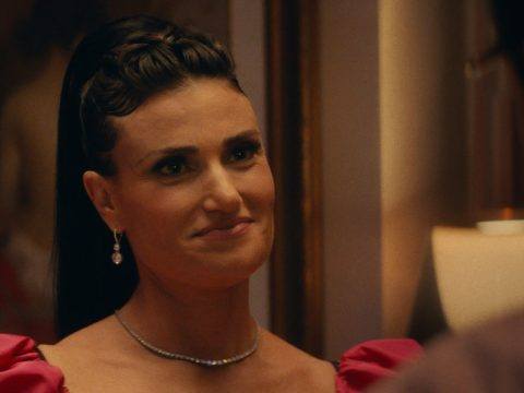 "Idina Menzel in her character's old bat mitzvah dress in ""Uncut Gems."" (Courtesy A24)"