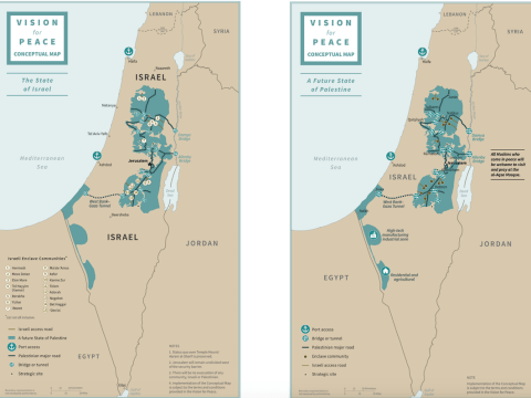 President Trump's peace plan includes two detailed maps of what a two-state solution could look like. (Screenshots from WhiteHouse.gov)