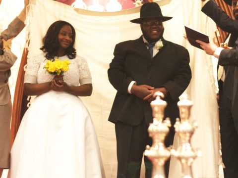 The wedding of rapper Nissim Black and wife Adina in Seattle, March 5, 2013. (JTA)