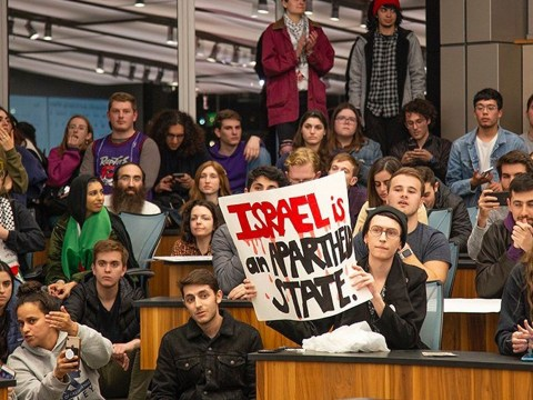 A Feb. 3 UC Berkeley student union meeting where pro-Israel and anti-Israel students groups debated a measure to remove a controversial Bears for Palestine display. (Photo/Sunny Shen-Daily Californian)
