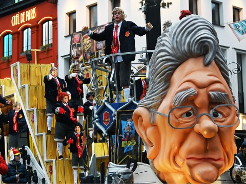 Most of the floats have no racist overtones at the annual carnival in Aalst, Belgium, including this one pictured there on Feb. 23, 2020. (JTA/Cnaan Liphshiz)