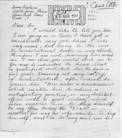 Bruno Nussbaum reports back to the refugee agency that helped transport him to England. (Click to enlarge)