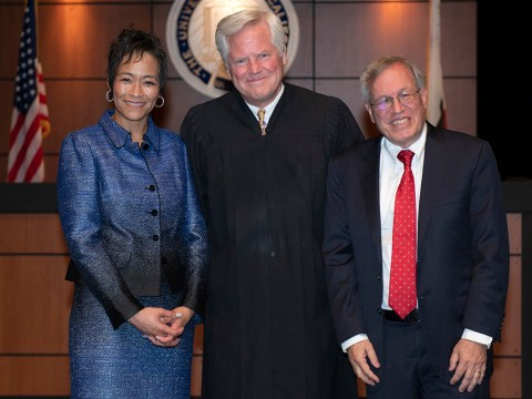 (From left) UC Irvine Law Dean Song Richardson, The Honorable Judge Andrew Guilford and Berkeley Law Dean Erwin Chemerinsky. (Courtesy Berkeley Law School)