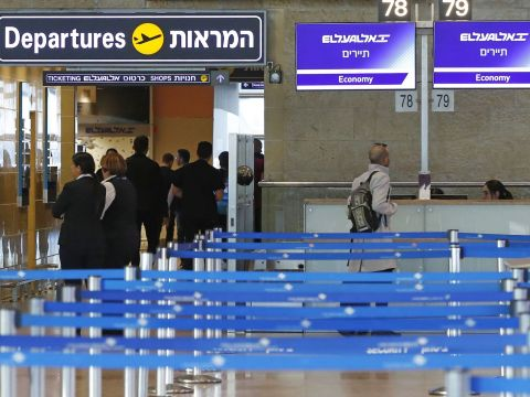 The El Al departure counter at Ben Gurion International Airport is empty after the airline canceled flights to Italy amid a coronavirus outbreak, Feb. 27, 2020. (JTA/JACK GUEZ/ AFP via GETTY)