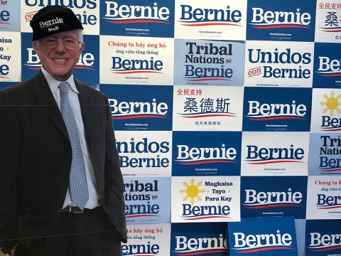 A cardboard standee of Bernie Sanders at the Sanders campaign's San Francisco office. (GABE STUTMAN)