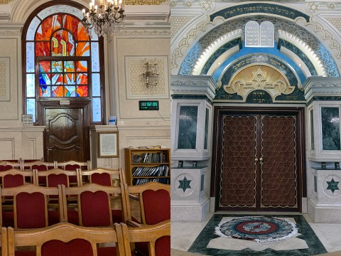 Two views of the renovated Temple Beth-El in Casablanca, the city's flagship synagogue and the only one open to outside visitors. (SUE BARNETT)