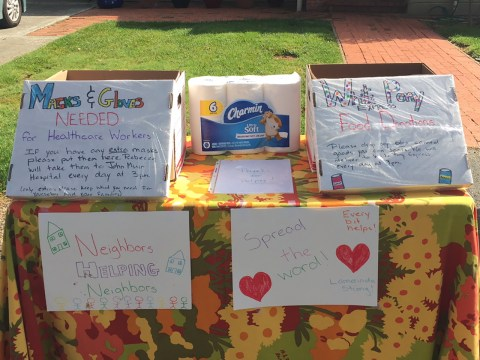 Rebecca Calahan Klein of Lafayette held a neighborhood drive for masks, gloves, toilet paper and non-perishable food outside her home over the weekend. (REBECCA CALAHAN KLEIN)