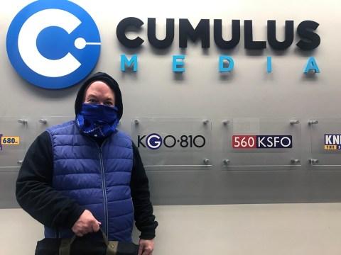 KGO radio host John Rothmann's PPE: a bandana and a hoodie.