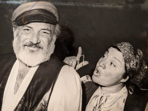 """Alby Kass, with his wife Wallie, playing Tevye and Golde in """"Fiddler on the Roof."""" (BRENDA ADELSON)"""