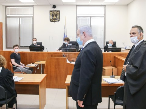Israeli Prime Minister Benjamin Netanyahu in a Jerusalem courtroom on the first day of his corruption trial on May 24, 2020. (Photo/JTA-Amit Shabi-Pool)