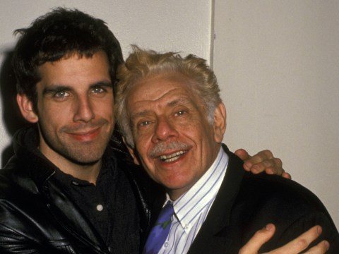 """Jerry Stiller with his son Ben at a party for the play """"What's Wrong With This Picture"""" in New York City in 1994. (Photo/JTA-Ron Galella-Ron Galella Collection via Getty Images)"""