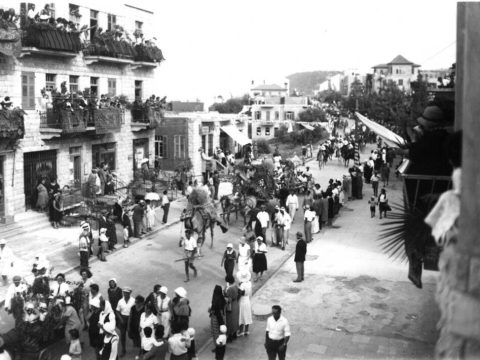 An early Haifa Shavuot parade from 1925. (Photo/Central Zionist Archives)