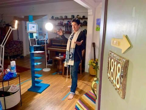 Rabbi Sydney Mintz of Congregation Emanu-El in San Francisco shows off her at-home streaming setup. (Photo/Courtesy Mintz)