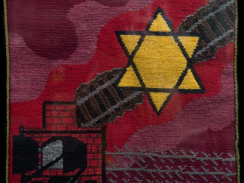 """Holocaust – The Horrifying Years,"" a tapestry from Trudie Strobel's series ""Moments in Jewish Time."""