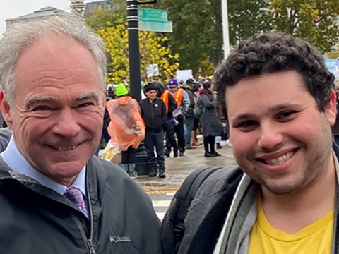 Elias Rosenfeld with U.S. Sen. Tim Kaine in front of the U.S. Supreme Court, Nov. 12, 2019, the day oral arguments were presented in the case on DACA arrivals. (Photo/JTA-Courtesy Rosenfeld)