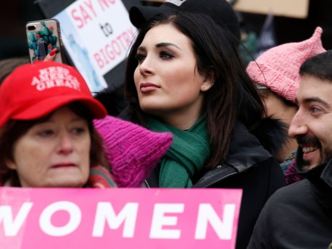 Laura Loomer stands across from the Women's March in New York City on January 19, 2019. (Photo/JTA-John Lamparski-Getty Images)