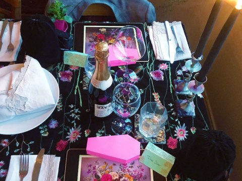 A table setting at the Pink Peacock. (Photo/JTA-Pink Peacock)
