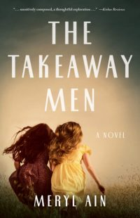 "cover of ""The Takeaway Men"" shows two young girls running in a field"