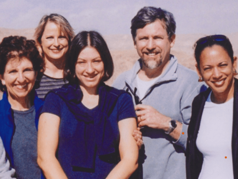 (Left to right) Anita Friedman; then-State Assembly Member Rebecca Cohn; Gia Daniller-Katz, then S.F. JCRC government relations director; then-Sacramento City Council Steve Cohn; and Sen. Kamala Harris in Israel in 2004. (Photo/Courtesy Friedman)