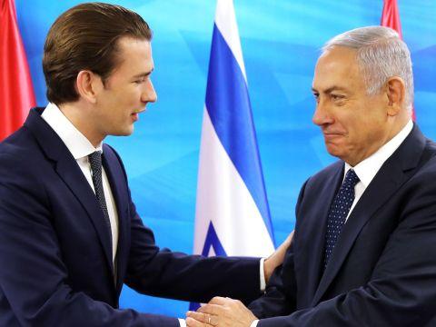 Austrian Chancellor Sebastian Kurz, left, with Israeli Prime Minister Benjamin Netanyahu at a joint news conference in Jerusalem, June 11, 2018. (Photo/JTA-Ammar Awad-AFP via Getty Images)