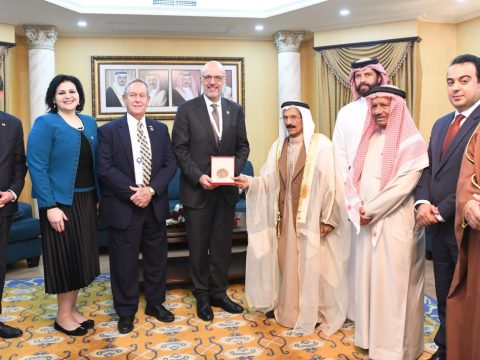 Jewish representative Nancy Khedouri, second from left, and other Bahraini officials meet with foreign representatives, including U.S. Ambassador Justin Siberell, far left. (Photo/Courtesy Khedouri)
