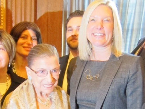Ruth Bader Ginsburg attended a private luncheon in 2012 with a visiting Bay Area Hadassah group that included Debra Bogaards and her family. (Photo/Courtesy Debra Bogaards)