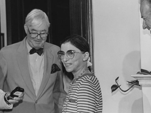 Ruth Bader Ginsburg as a Supreme Court nominee, following her photo op with Sens. Daniel Moynihan, left, and Joe Biden, June 15, 1993. (Photo/JTA-Maureen Keating-CQ Roll Call via Getty Images)