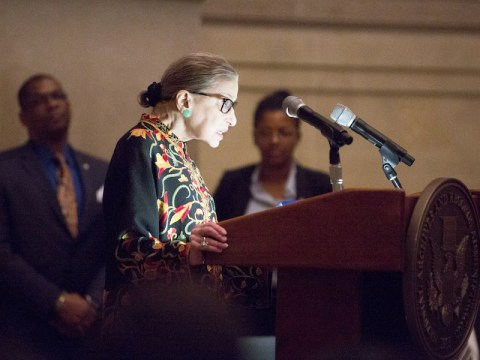 Supreme Court Justice Ruth Bader Ginsburg speaks at a naturalization ceremony at the National Archives in Washington, DC, on December 14, 2018. (Photo/JTA-Jeff Reed-Wikimedia Commons)