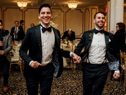 Jeremy Borison (right) and Michael Greenberg tried to stick as close to Orthodox tradition as possible for their wedding. (Photo/JTA-Nyla Grey)