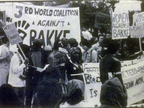 A rally in Los Angeles in support of overturning the California Supreme Court's decision in Bakke v. Regents of the University of California, 1977. (Photo/Wikimedia Commons)