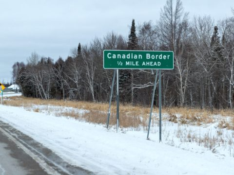 Sign at the U.S.-Canadian border