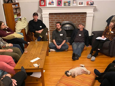 A group gathers in the Vancouver home of Noam and Val Dolgin to discuss a possible Jewish cohousing project. (Photo/JTA-Noam Dolgin)