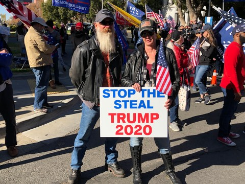 Demonstrators at a pro-Trump rally in Sacramento. Nov. 28, 2020. (Photo/Gabe Stutman)